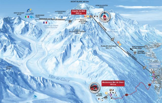 Aiguille du midi winter map